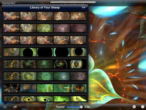 Electric Sheep iPad App - Fractal Library Interface Design by Laura Cesari