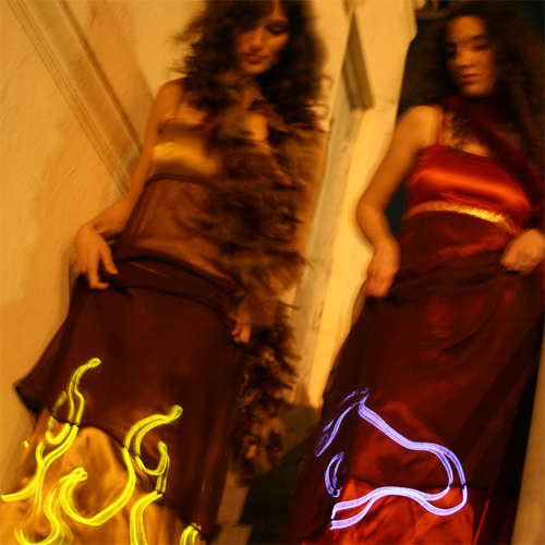 Fire Skirt! Glow Dress, Electric Dress, Electronic Fashion, Laura Cesari